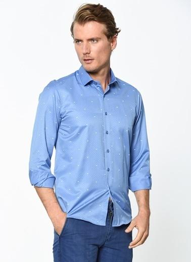 Wessi Puantiyeli Uzun Kollu Gömlek Mavi